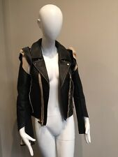 Maison Martin Margiela H&M Black Leather Biker Jacket Sz 2