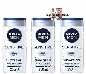 Nivea Men SENSITIVE Skin Shower Gel Body Face Hair 250ML - 3 PACK