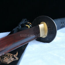 Hand forged&folded red damascus steel blade japanese samurai katana sword real.
