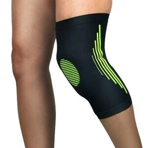Men Stripe Elastic Compression Knee Pad Outdoor Sports Running Cycling Protector