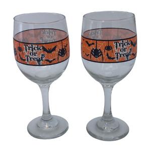 "Lot of 2 Halloween Spider Wine Glasses Clear Orange Black- 8 oz, 9"" Tall"