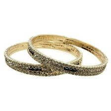 Bollywood Bangle Wedding Jewelry Gold Plated Rhinestone Bangles Set 2pc Size 210