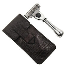 Parker Safety Razor Travel Mach 3 Razor & Leather Carrying Case Compact Size