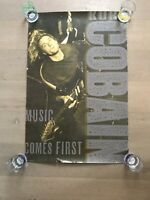 USED KURT COBAIN - MUSIC COMES FIRST POSTER - 24x36 GUITAR NIRVANA