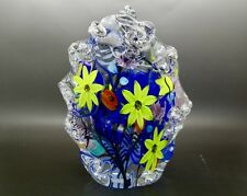 "JUSTIN LUNDBERG Colorful Flowers Art Glass Sculpture/Paperweight,Apr 8""H x 5.5""W"