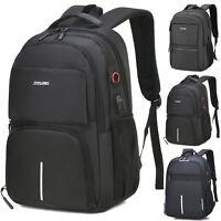 "15.6"" Men Laptop Backpack Waterproof USB Port Large School Bag Travel Rucksack"
