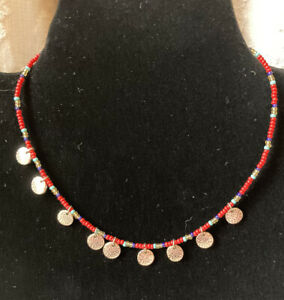 """Seed Bead Red & Gold Tone Tiny Coins Choker/Necklace 16"""""""