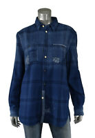 Women's Ralph Lauren Polo Relaxed Fit Repaired Patchwork Flannel Shirt New $198