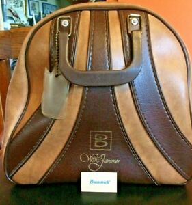 Vintage Brunswick Windjammer Two-Tone Leather Bowling Ball Bag. W/ ball holder