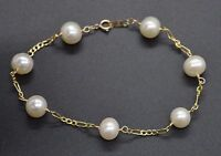 """#BN146 NEW 14K Solid Yellow Gold White 7mm Cultured Pearl Bracelet 7.1/4"""""""