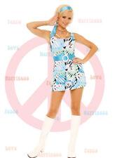 60s Hippie Costume Op Art Sleeveless Mini Dress Belt Scarf Elegant Moments 9782