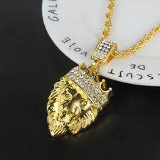 "Hip Hop Gold Tone Crown Lion Rhinestone Pendant 30"" Link Chain Necklace Gifts"
