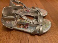 Disney Frozen Elsa & Anna Girls Toddler Silver Rhinestone Sandal Shoes Size 9