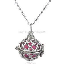 K33 Silver Round Cross Locket Necklace Women Floating Cage Steel Chain