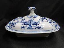 """Teichert Meissen Blue Onion, Arrow Mark: Rectangular Covered Serving Bowl 8 1/8"""""""