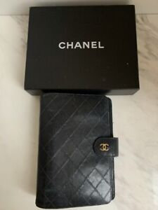Genuine Chanel Diary cover Skin Coco Mark Leather Black Vintage