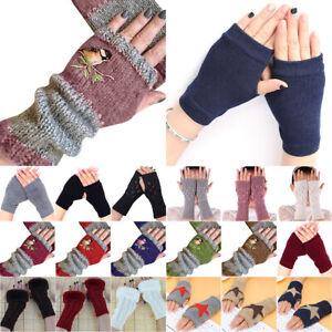 Womens Fingerless Mittens Wrist Gloves Crochet Knitted Cuff Hand Arm Warmers Ski