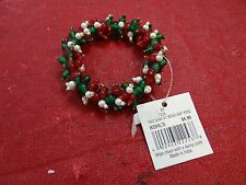 ST NICHOLAS SQUARE HOLIDAY BEADED NAPKIN RING RED GREEN WHITE NWT
