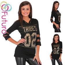 Ladies Black Top Mesh Sleeves Hoodie Jumper Blouse Pullover Sizes 8-14 FC2051