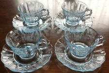 ANTIQUE Depression GLASS Blue MEADOW Rose FOSTORIA Cup SAUCER Baroque BLANK LOT