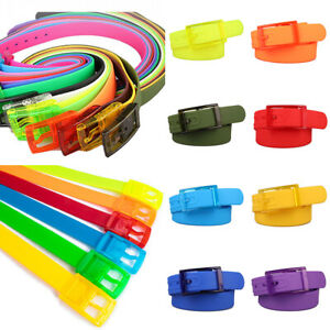 1PC Unisex Plastic Belt Candy Color Silicone Rubber Smooth Buckle Waistband Gift