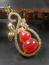 Gold Plate Red JADE Pendant Gourd Necklace Diamond (Imitation) 267052 US