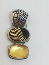 Sarda sterling silver Black &  Yellow Carved Stone Pendant