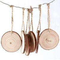 Wood Slices Unfinished Wooden Circles Round Wood Disc Arts DIY Craft With Rope