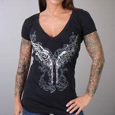 Women's Black Soft Tee - Angel Wings Pistols- Biker Chick - Motorcycle Harley