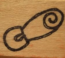 Imaginations Wood Mounted Rubber Stamp - Baby Diaper Pin