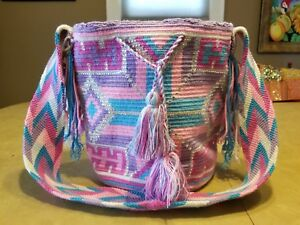 Wayuu Mochila Handbag Tote Purse Colombian Handmade with Swarovski Crystals
