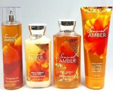 Bath & Body Works SENSUAL AMBER Frarance Mist Lotion Gel Cream 4 pc Set -