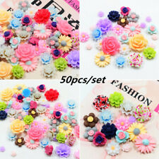 50pcs Mixed Resin Rose Flower Flat Back Embellishment DIY For Phone/Nails/Crafts