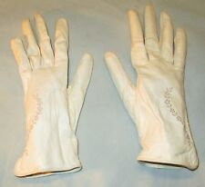 Vintage Kid Gloves Made in Western Germany Ivory Embroidered 1949 Size 6-1/2