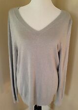 Lane Bryant Women's Sweater V Neck Long Sleeve Sparkly Silver Sz 18/20