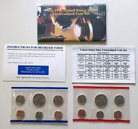 USA 1995 Uncirculated Mint Set Philadelphia Denver Umschlag Booklet Karte 1c-50c