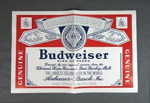 "Vintage 1960's Budweiser Beer Label Poster Advertising Sign 21"" x 13.5"""