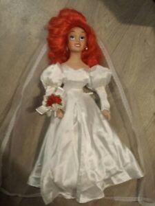 Large 20 Inch 1990s Disney Bride Porcelain Little Mermaid Ariel Doll Exc. Cond