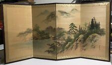 Japanese (Byobu) 4-Panel (Signed) Vintage Folding Screen - by Simple Duckweed