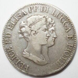 NAPOLEONIDES - ITALIE - LUCQUES & PIOMBINO : 5 FRANCHI 1807