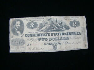 1862 Confederate States Of America $2.00 Banknote VG #S41