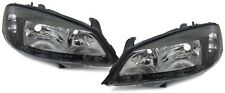 Front clear black finish headlights front lights for Opel Astra G 97-07