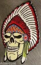 Embroidered Novelty Patch Indian Chief Head Skull NEW
