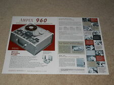 Ampex 960 Open Reel Ad, 1959, 2 page, 2010 Speaker, Specs, Articles, Info
