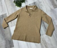 Tory Burch Women's Sweater Camel Brown Knit Slim Fit Collared Long Sleeve Medium