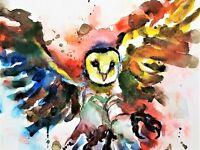 Barn Owl Poster Painting - Watercolor Art Print Wall Animal Bird Wildlife 20X30