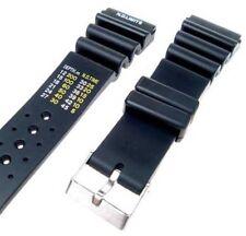 "22mm Black Rubber Sport Diver Watch Strap Band ""N.D. Limits"" WR154"