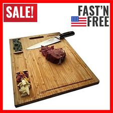 Large Bamboo Wood Cutting Board Kitchen Butcher Block Chopping Carving Board New