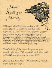 Book of Shadows Spell Page, MOON SPELL FOR MONEY, Witchcraft, Wicca, BOS