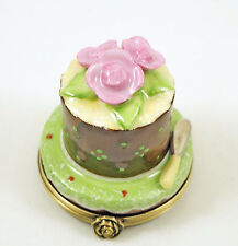 New Hand Painted French Limoges Trinket Box Yummy Chocolate Cake W Amazing Roses